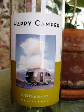 A good friend gifted me this Happy Camper Chardonnay. After sharing it with two other friends over a nice dinner, I re-gifted it to the Hendry family for re-use in their camping trailer. Now thats what I call re-recycling! Im thinking olive oil or the standard candle holder. Maybe this will give them a leg up at their next glamping competition.