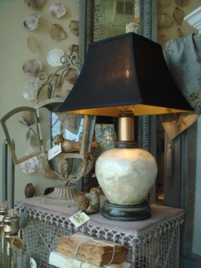Capiz lamp ~ AFTER. With modern shade and refinished base.