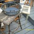 an early basket,twig table, glass top table