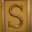This has a funny story.  Obviously, its a vintage silver frame with an S for Schaumann, but my dear sil asked what the S stood for?  Unfortunately, its in the bathroom.  Get her mindset? Fun to use empty frames like this to hi-lite some article you like.