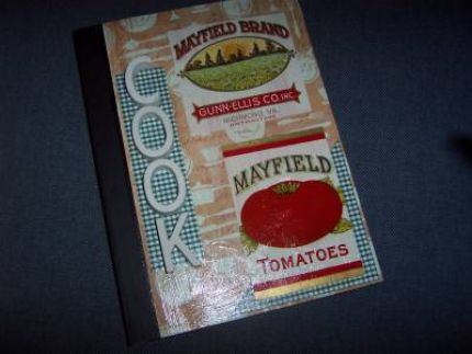 Cute recipe book with vintage veggie can labels and ceramic letters (not sure what the letters are used for usually, but I bought a whole box of em and theyre coming in real handy!)