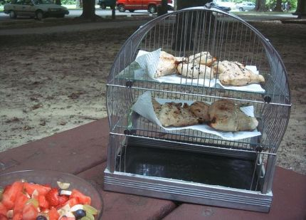 We served up the chicken in a transformed (and cleaned) bird cage.