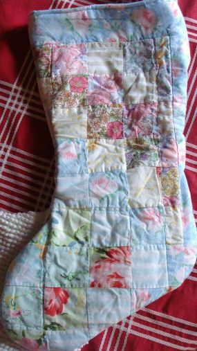 OLD QUILTED PILLOW SHAM REUSED, NOW IT IS A SHABBY CHRISTMAS STOCKING FULLY LINED