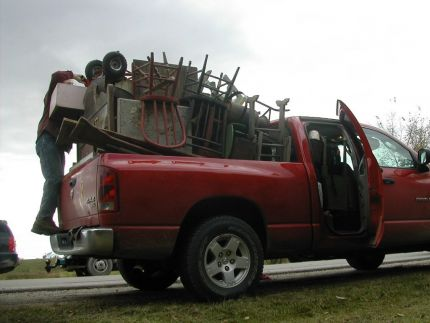 The truck was packed so high, we looked like the Beverly Hillbillies!