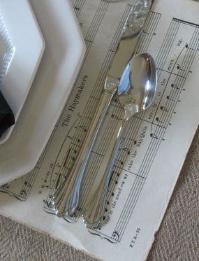 I used old yellowed music sheets for placemats