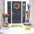 My fall decorated stoop.