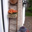 Ive used my freebie ladder in displays before but hadnt added the clock till now!  Thanks to you at Junkmarket! I purchased the vintage metal bicyle basket at a church sale for $2 - lined it with an old coffee bean burlap bag and filled with live mums.