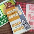 S & H Green Stamps (Sperry & Hutchinson 1930-1980), Gold Bond (Carlson), and Plaid Stamps (A & P Supermarkets 1960)