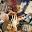 This was junkers heaven...all the things that I love...mannequin hand, vintage lace,film canister & reel, bingo card & tokens, wood ruler, outdoor faucet and...