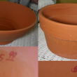 these are the pots as i found them.  on the left top and bottom is the piece i wanted for the bird bath.  it was the most expensive at $5.99 but given its size and perfect condition, i felt it was truly a bargain. on the right top and bottom is the piece i wanted for the feeder.  at $1.99 it was a steal! i couldnt believe my luck!