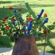 And..my faithful old cement mixer turned planter is decked out in red, white and blue too!