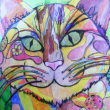 I know Ive shown the cat before...hes on my blog several times...he just makes me smile. I enjoyed the art class where I painted him and he brings back fun memories, plus he looks nice hanging next to the junk art wooden holey thing.