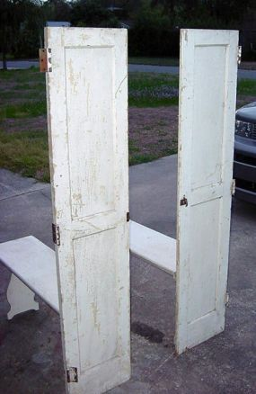 These were obviously built in doors with folding benches for space saving.