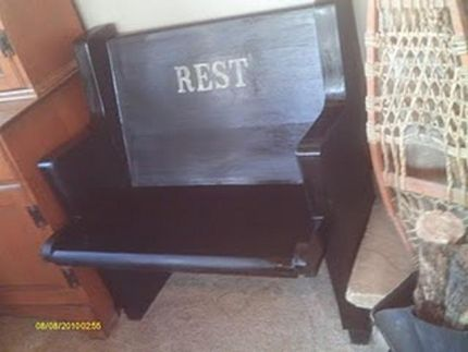 After the basic reconstruction, I primed, painted black, added the word REST, and antiqued it a bit.