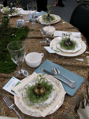 Details:  Mismatched dishes in creams and whites - some with gold and others with silver detailing on the edges.  Chocolate, creams, whites and Robins egg blue were my tables colors.