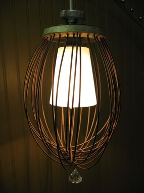 By taking an inexpensive pre-wired pendant lamp and mixing it with a vintage industrial whisk we have all the makings a great junk production needs! FYI, thats Hollywood speak for...Stand back for the special effects!