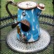 Blue Enamel Porcelain Clock Teapot Upcycled Bird House