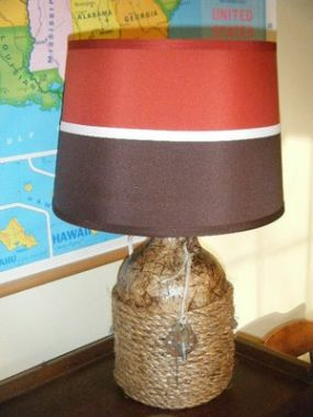 Once a glass bottle, now a nautical-looking lamp