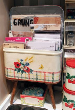 Vintage Biscuit Tin for Paper Crafting Storage