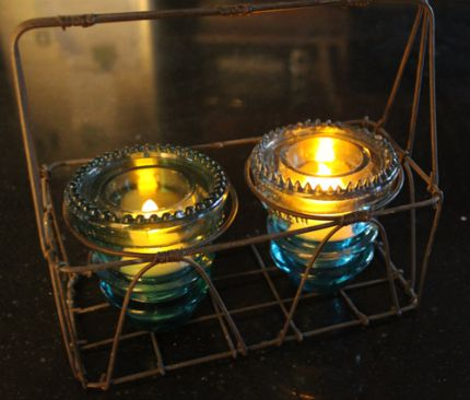 Glass insulator tea light holder junkmarket style for Insulator candle holder