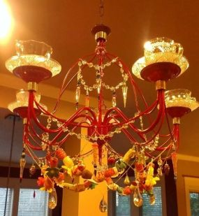 Old chandelier, glass punch cups, macrame beads and crystal drops
