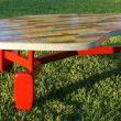 Atomic Biomorphic Yardstick Covered Coffee Table