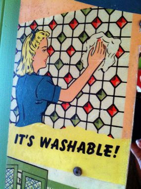 Its Washable...Good! You know you're having a good time if the walls need a scrubbin when you're finished!