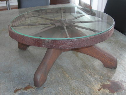 Old wheel Lazy Susan