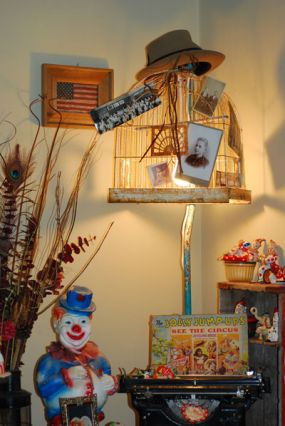 Bird Cage Lamp - Old IV Pole, Rusty Bird Cage, Old Hat & Vintage Photos with light kit.  Enjoy!