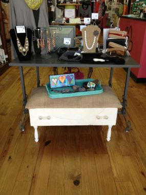 This idea came from another website I saw that gave me the plan to create something from a lonely vintage dresser drawer that was left from another project! I was over-the-moon when a local boutique owner wanted my piece in her shop to use to display other items!