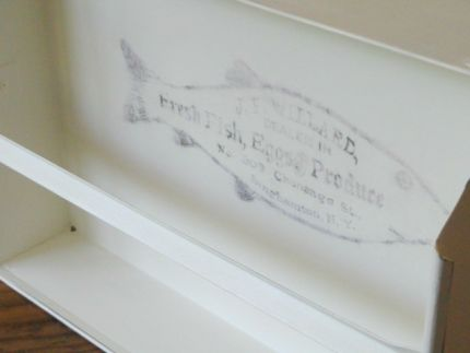 Hand painted with Annie Sloans Old White Chalk Paint, Graphic applied, Distressed, and Waxed  Graphic from Graphics Fairy