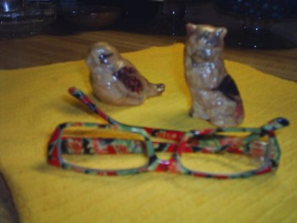 Now these little buggers were tegeous (not certain of that spelling) as all get out to do. I ripped tiny , tiny pieces of tissue decorative tissue paper and Mod podged different pieces that had feathers to look like the eyes on the bird and the wiskers on the cat. I wish they hadnt came out so blurry but you get the concept. The pictures do not do these justice. They are absolutely adorable. I set the reading glasses in front of them to show how small they are. Ive made probably six of these little fellers. My best friend I speak of on here, I gave her the very first set I made. It was her birthday. They were really cute. kinda had little pink checker board little pieces on those. but as I stated before she lost her home due to a fire and those were lost also. But the main thing is, their family and her are safe and no one got hurt and thank the Lord for that. Other things can be replaced. And you ALWAYS have memories.   I know these are blurry but Im gonna post them anyway.