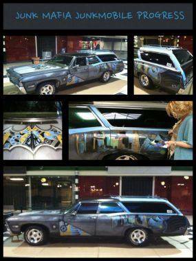 Collage of Junk Mafia Car Progress