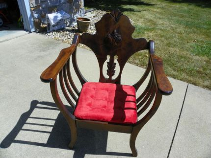 I purchased this beautiful chair at an auction. The red velvet seat was cool, but it sat in the shop for almost a year. I decided it was time for a revamp!