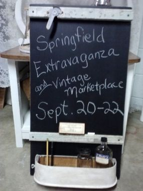 Just in case you need a reminder - here are the dates!  And, its written on a big ol piece of wood, covered with chalkboard paint, accessorized with an old sewing machine drawer to keep you organized, and a couple pieces of wood window trim to frame it all out!