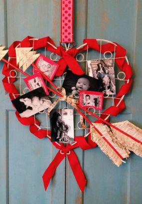 This sweetheart of a project began with a plain white photo display found at Goodwill for $1.25. While it was just fine by itself, I thought it deserved some pepping up for Valentines Day.  You can achieve a similar look by using an empty picture frame with twine strung across the opening. Just use mini-clothes pins to hold your pictures.
