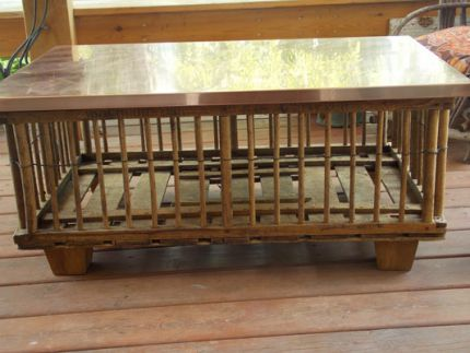 Repurposed chicken crate turned trendy coffee table