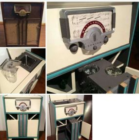 The idea of turning an old radio into a mini bar came from Flea Market Flip, but the design is original.