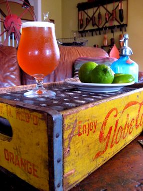 Vintage soda crate combined with an old candy mold...cheers!