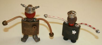 OK, now for some silliness! I found these amazing old brass lock bodies at my favorite salvage yard and immediately thought they would make fabulous little people bodies. So, I put the quotes and metaphors away for a little while (grin) and came up with these two fun little guys. I'm feeling more of these coming on so stay tuned…