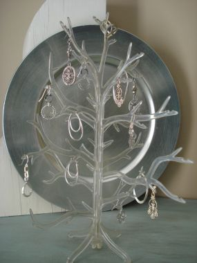 A gumdrop tree repurposed into an earring tree.